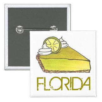 Florida Key Lime Pie Slice Dessert Foodie Button