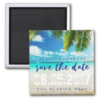 Florida Keys Beach Wedding Save the Dates Square Magnet