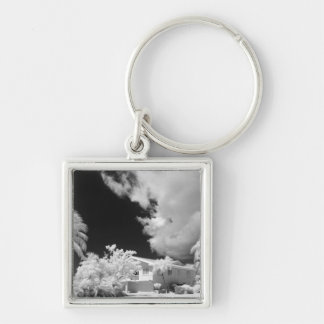 Florida Keys house and its palm trees, USA. Silver-Colored Square Keychain
