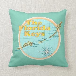 Florida Keys Map illustration Throw Pillow