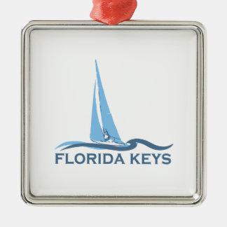 Florida Keys. Silver-Colored Square Ornament