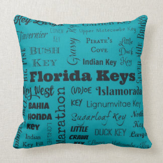 Florida Keys throw pillow in turquoise/black