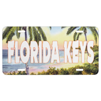 Florida Keys with vintage beach scene License Plate