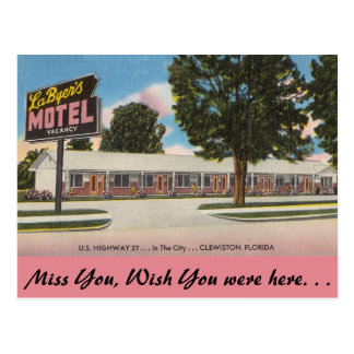 Florida, La Byer's Motel, Clewiston Postcard