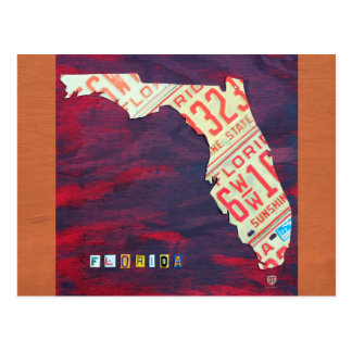 Florida License Plate Map Postcard