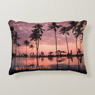 Florida Life Sunset Palm Tree Accent Pillow