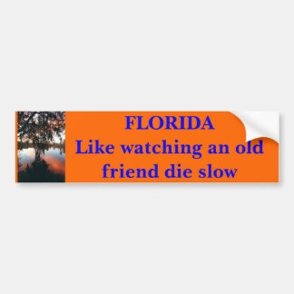 FLORIDA  Like watching an old friend die slow Bumper Sticker