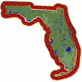 Florida Map Christmas Ornament Cut Out