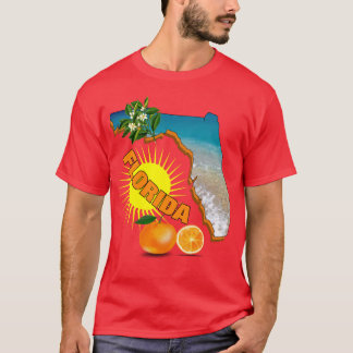 Florida Map Sunny Oranges Summer Graphic T-Shirt