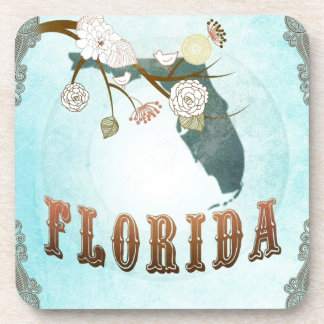 Florida Map With Lovely Birds Beverage Coasters