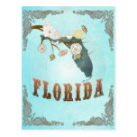 Florida Map With Lovely Birds Postcards