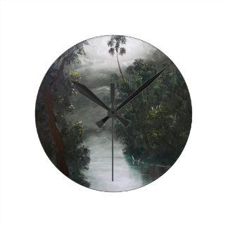 Florida Misty RIver Moss Round Clock