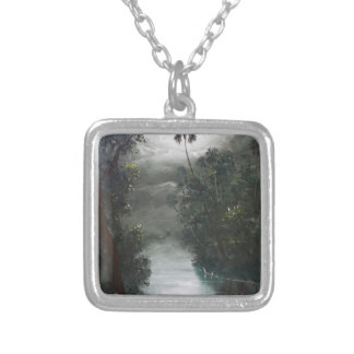 Florida Misty RIver Moss Silver Plated Necklace
