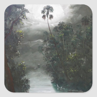 Florida Misty RIver Moss Square Sticker
