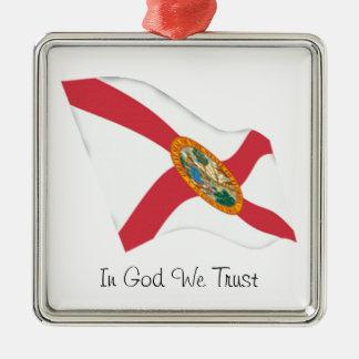 Florida motto Silver-Colored square ornament