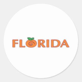 FLORIDA Orange Text Round Sticker