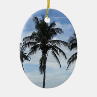 Florida Palm Trees Ceramic Oval Ornament