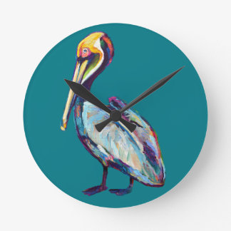 Florida Pelican by Robert Phelps Round Clock