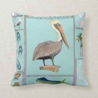 Florida Pelican Motif Throw Pillow