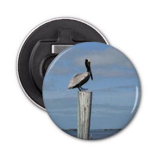 Florida Pelican on a Post Magnetic Bottle Opener Button Bottle Opener