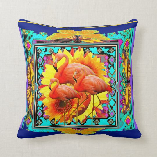 Florida Pink Flamingos Yellow-Blue art Throw Pillow