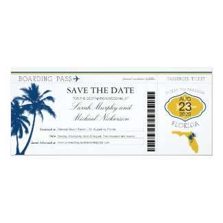 "Florida Save the Date Boarding Pass 4"" X 9.25"" Invitation Card"