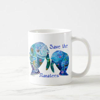 Florida Save the Manatees in Vivid Blues Coffee Mug