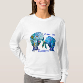 Florida Save the Manatees in Vivid Blues T-Shirt