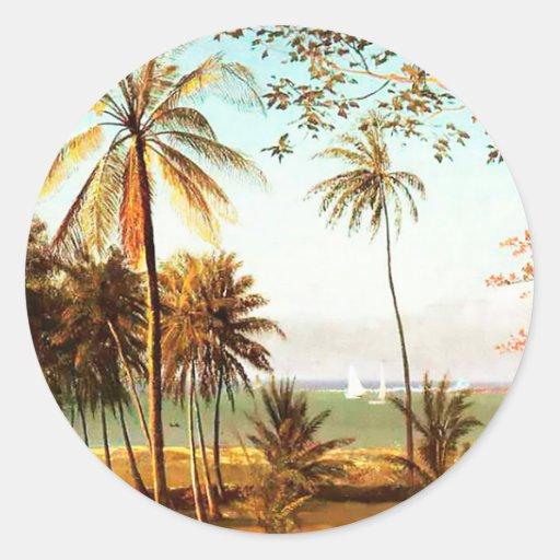 Florida Scene by Albert Bierstadt Round Stickers