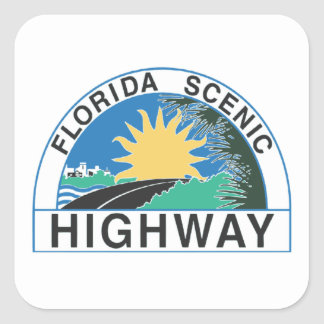 Florida Scenic Highway Road Sign Travel Square Sticker