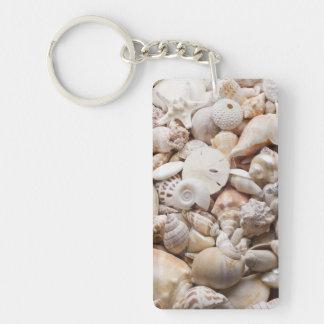 Florida Sea Shell Background - Beach Shells Custom Keychain