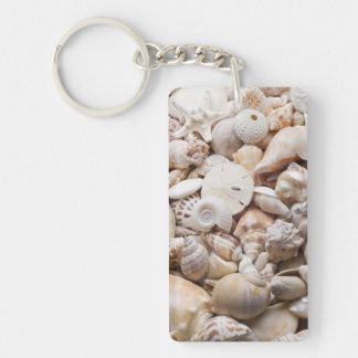 Florida Sea Shell Background - Beach Shells Custom Single-Sided Rectangular Acrylic Keychain