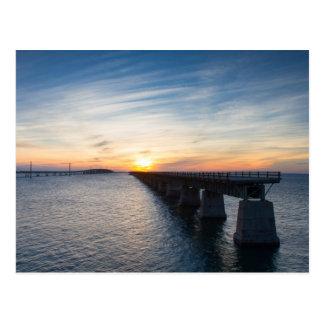 Florida - Seven Mile Bridge at sunset postcard