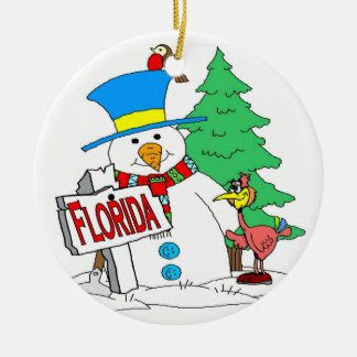Florida Snowman Round Ceramic Ornament