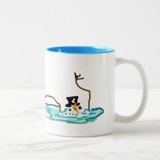 Florida Snowman Two-Tone Coffee Mug