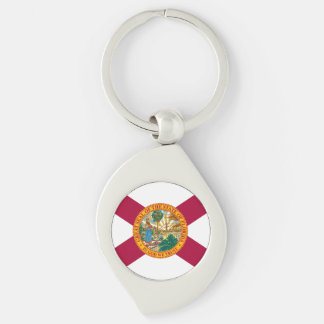 Florida State Flag Silver-Colored Swirl Keychain