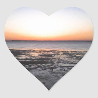 florida sun set heart sticker