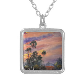 Florida Sunset Colors Silver Plated Necklace