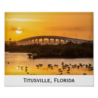 Florida Sunset Travel Photography - Titusville Poster