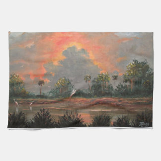 Florida Sunset while Travelling to Okeechobee Kitchen Towel