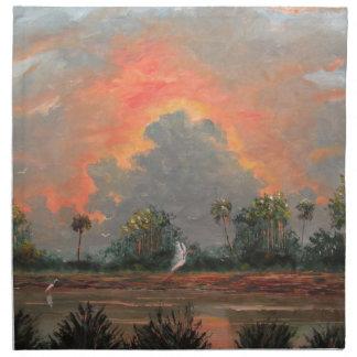 Florida Sunset while Travelling to Okeechobee Printed Napkin
