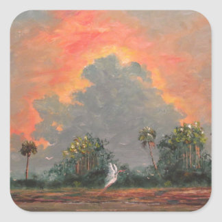 Florida Sunset while Travelling to Okeechobee Square Sticker