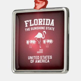 Florida The Sunshine State Silver-Colored Square Ornament