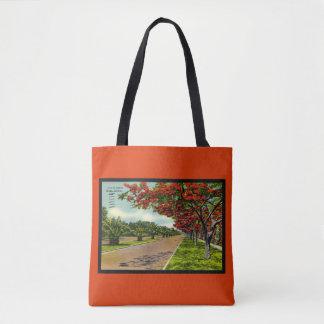 Florida Tropical Landscape June Orange Floral Tote Bag