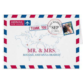 FLORIDA USA & GERMANY Airmail Wedding Thank You Card