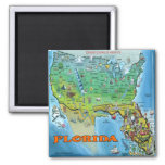 Florida USA Map Square Magnet