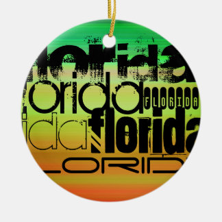 Florida; Vibrant Green, Orange, & Yellow Round Ceramic Ornament
