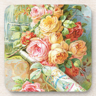 Florida Water Cologne with Cabbage Roses Coaster