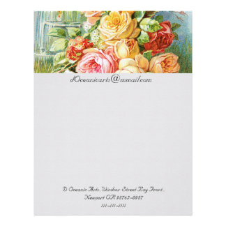 Florida Water Cologne with Cabbage Roses Custom Letterhead