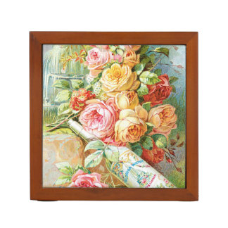 Florida Water Cologne with Cabbage Roses Desk Organizer